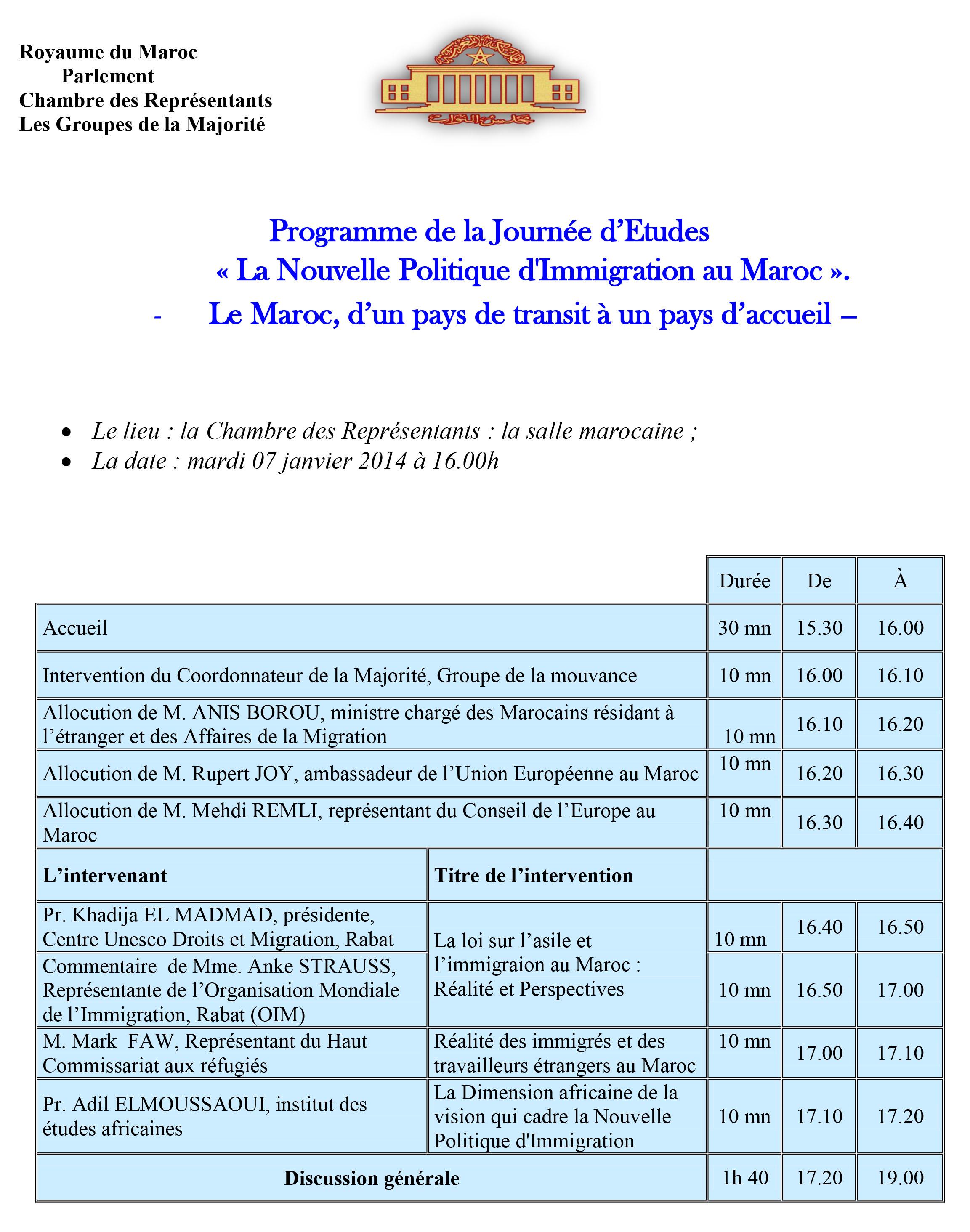 Programme 07 janv Parlement